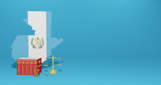 Guatemala law for infographics, social media content in 3d rendering