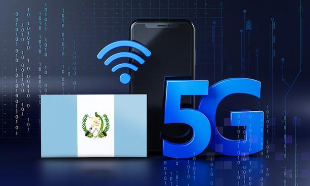 グアテマラは5g接続コンセプトの準備ができています。 3dレンダリングスマートフォン技術の背景