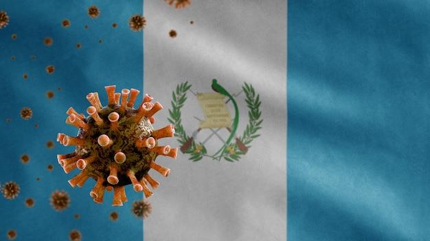 Guatemalan flag waving and coronavirus 2019 ncov concept