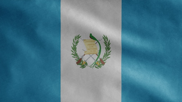 Guatemalan flag waving in the wind. close up of guatemala banner blowing, soft and smooth silk