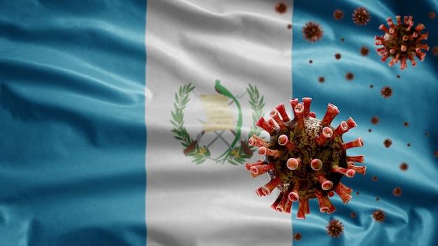 Guatemalan flag waving with coronavirus outbreak infecting respiratory system as dangerous flu