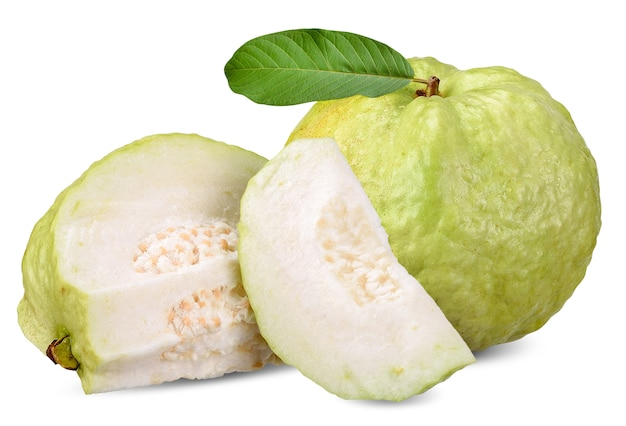 Guava fruit isolated on white clipping path