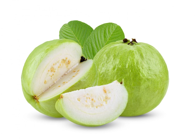 Guava fruit on white table