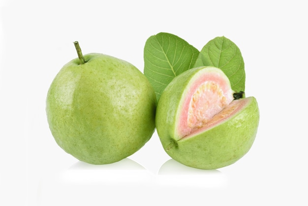 Guava fruit with leaf isolated on white background