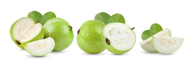 Guava fruit with leaf isolated on white surface