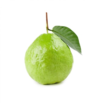 白で隔離の葉とグアバ果実