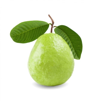 Guava fruit with leaves isolated on white