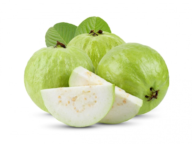 Guava fruit with leaves on white table