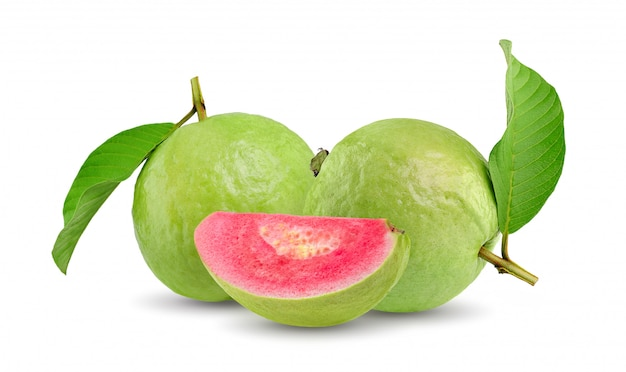 Guava (tropical fruit) on white