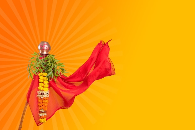 Gudhi padva background. traditional festival of new year for marathi hindus.