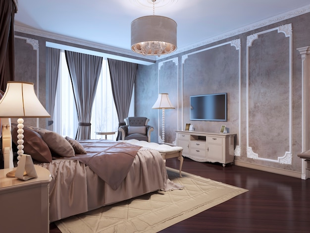 Guest bedroom classic style with medium taupe textured walls and mahogany wood parquet