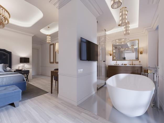 オープンバスルーム、シャワー、洗面化粧台、バスタブ付きの客室。モダンなスイート。 3dレンダリング。