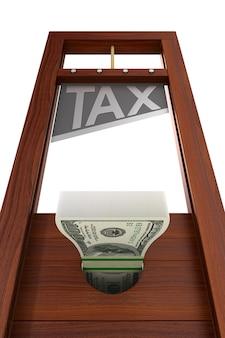 Гильотина с текстовым налогом на белом.