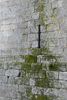 복사 공간이있는 돌 벽돌 위에 몇 년이 지났기 때문에 자란 매우 좁은 창과 이끼의 guimaraes 성 돌담 세부 사항