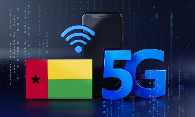 Guinea-bissau ready for 5g connection concept. 3d rendering smartphone technology background