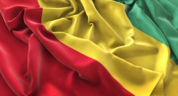 Guinea flag ruffled beautifully waving macro close-up shot