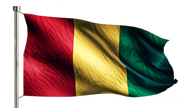 Guinea national flag isolated 3d white background