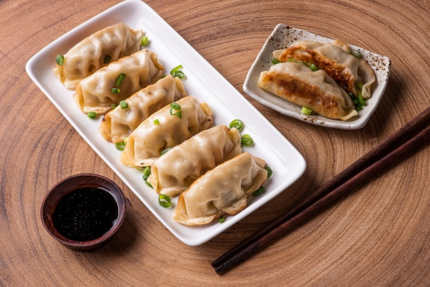 Guioza or  jiaozi appetizer of chinese and japanese cuisine. to view