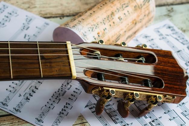 Гитара и музыка, гитара и ноты, инструмент, гитара и ноты