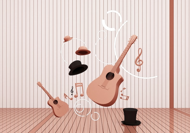 Guitar and black hat with music keys floating on pink