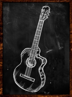 Guitar classic acoustic drawing on blackboard music