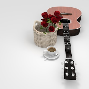 Guitar flower coffee cup 3d rendering
