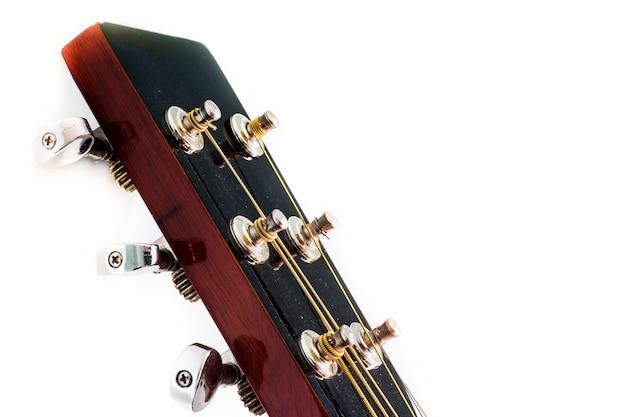 白い背景の上のギターの頭