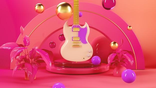 Guitar in pink space 3d illustration render