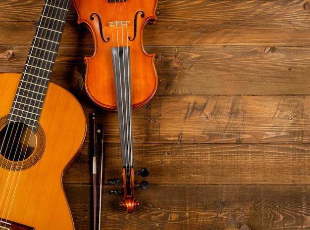 Guitar and violin in wood
