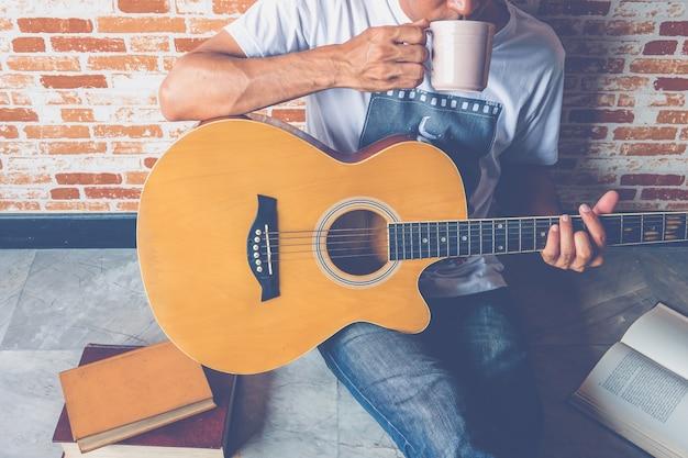 Guitar with man