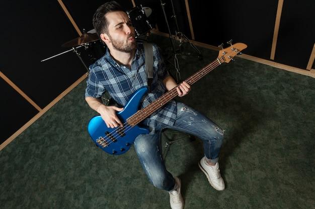 Guitarist performing top view