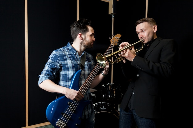 Guitarist and trumpet player