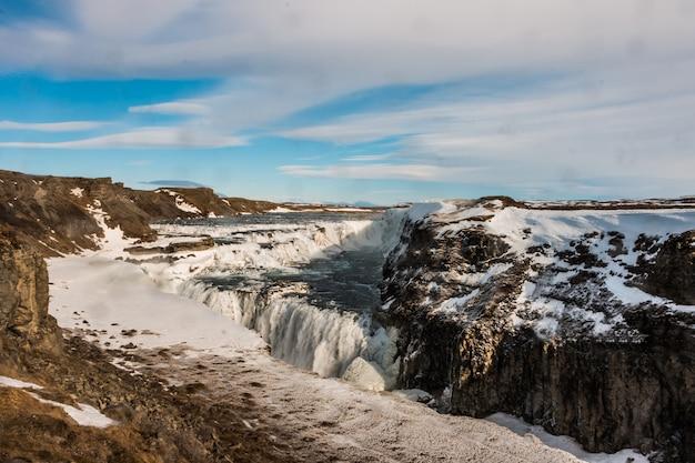 Gullfoss waterfall almost frozen