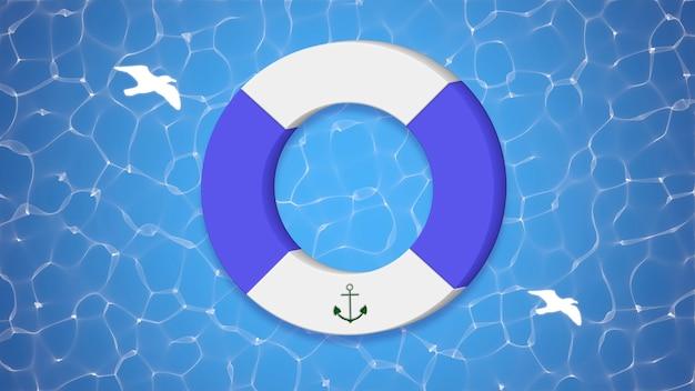 Чайки и плавательный круг, синий летний фон. элегантная и роскошная динамичная 3d-иллюстрация в стиле ретро для рекламы и промо-темы