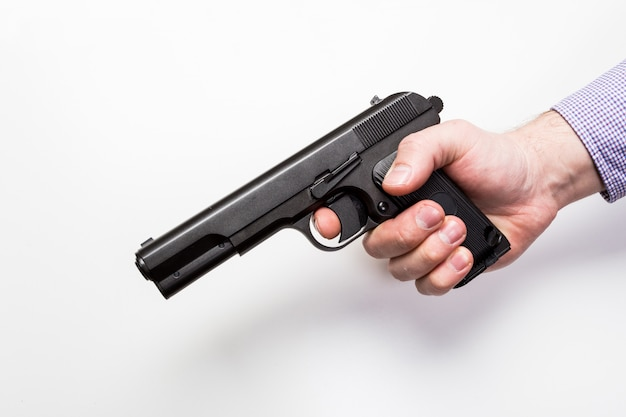 銃、白で隔離されます。