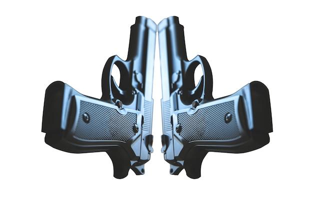 Пистолет, изолированные на белом фоне. легализация оружия. криминальные проблемы.