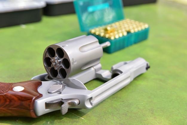 The gun revolver  bullet in the background shooting range