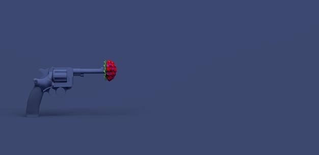 Пистолетная стрельба букет цветов на синем фоне концепция мира 3d иллюстрация