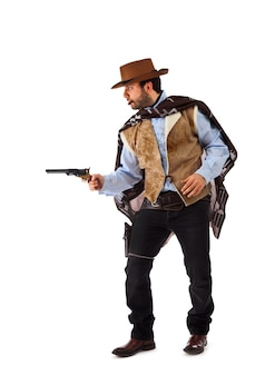 Gunman in the old wild west on white