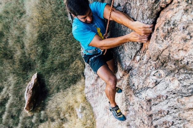 Guy doing rock climbing