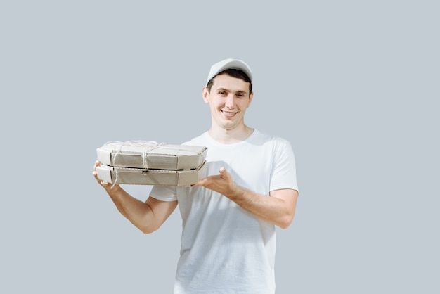 Guy man pizza delivery.