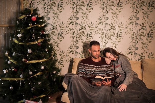 Guy near lady in coverlet with book near christmas tree