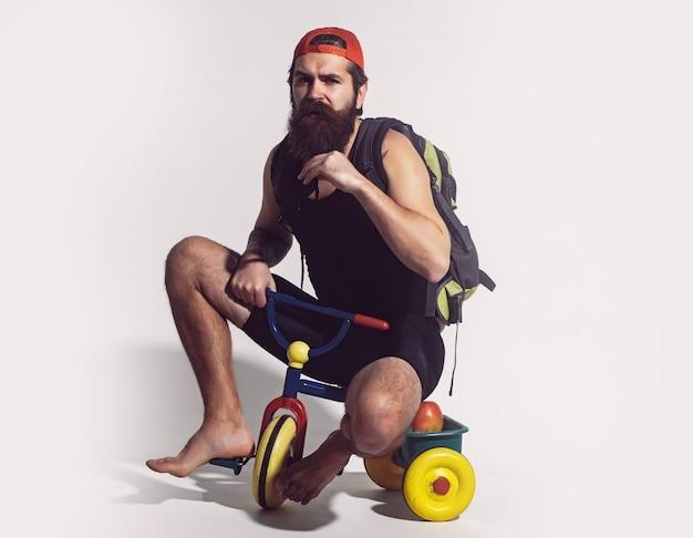 자전거 장난감에 가방 차일 세발 자전거 재미 있은 남자를 타는 사람