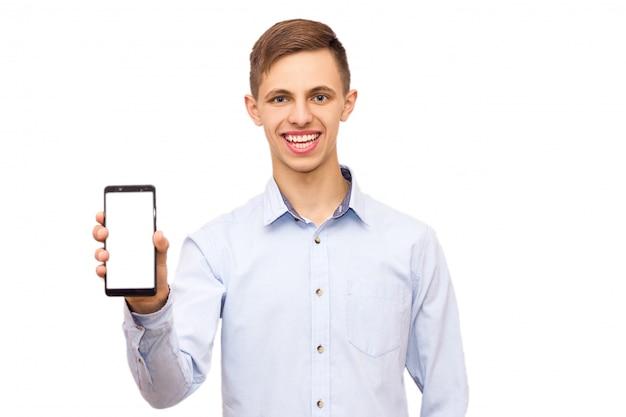 Guy in shirt advertises telephone, isolate, emotional man