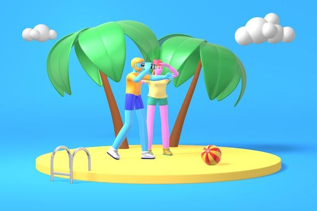 Парень с бородой и хипстерской девушкой с синей, розовой кожей