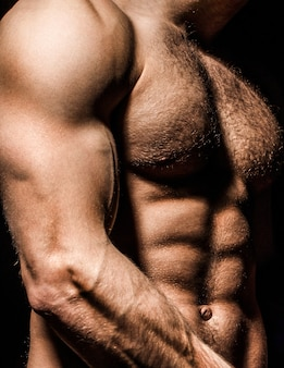Guy with beautiful torso. sexy man, athletic caucasian. ab, six pack. muscular man, male naked, torso man. sport man, bodybuilding, fitness. muscular body naked torso