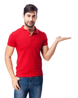Guy with open hand on white background