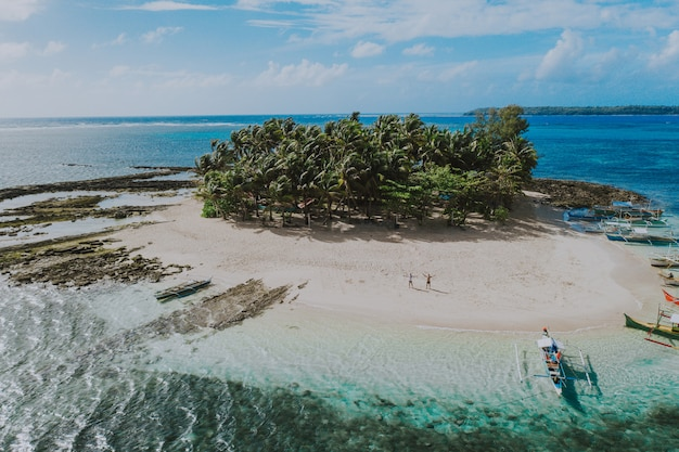 Guyam island view from the sky. shot taken with drone above the beautiful island. concept about travel, nature, and marine landscapes