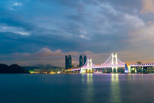 Gwangan bridge in busan city , south korea.
