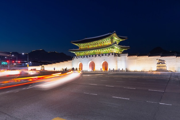 Gyeongbokgung palace, front of palace gate in downtown seoul, south korea. name of the palace 'gyeongbokgung'